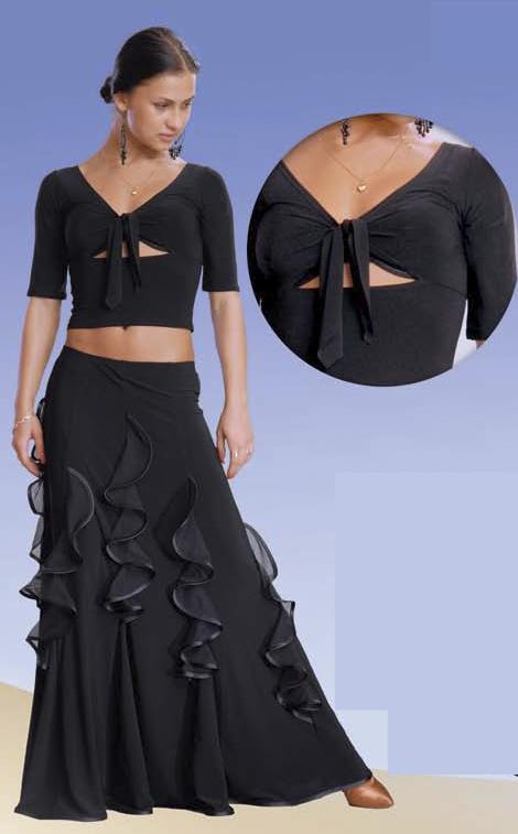 Блузка с узлом для латины, стандарта, фламенко