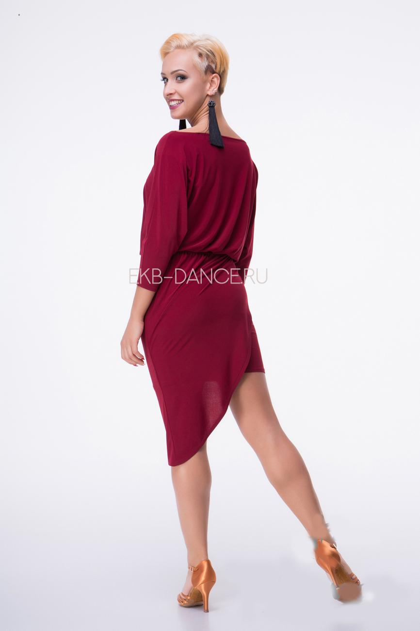 Бордовое латинское платье ПЛ 845