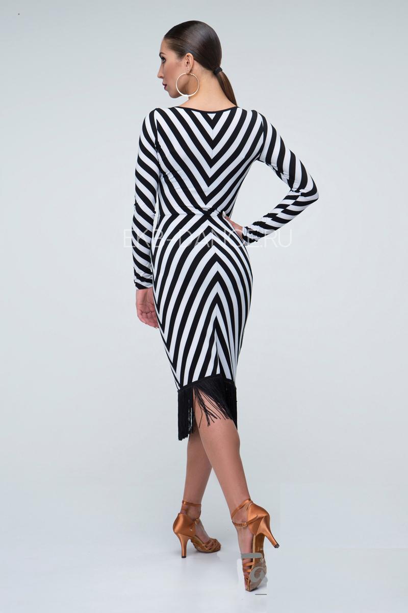 Платье в полоску с длинным рукавом ПЛ964