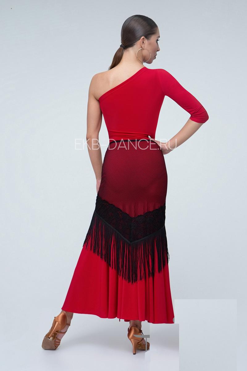 Красное платье для латины с одним рукавом ПЛ1013