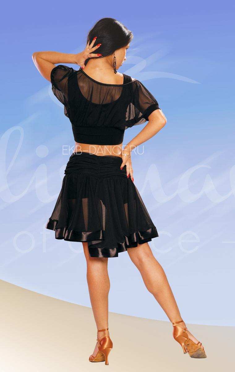 Юбка латина - сетка с атласной каймой, на шортах (ЮЛ №111)