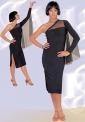 Платье латинское. 1 рукав-летучая мышь из сетки (ПЛ №322)